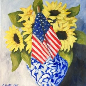 (2228). Patriotic Sunflowers original painting